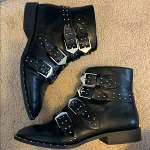 Faux Leather Biker Bootie - Size 7